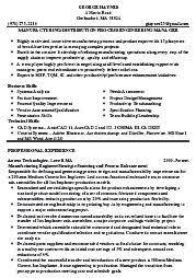 resume process engineer