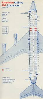 707 Seating Chart Vintage Airline Seat Map American Airlines Boeing 707 323b