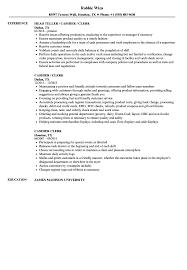Resume For Cashier Examples Cashier Clerk Resume Samples Velvet Jobs 16