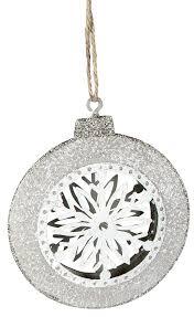 Christbaumschmuck Aus Metall Kugel Mit Eiskristall Weiß Silber 9 Cm