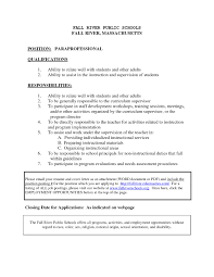 Cover Letter For Paraeducator Free Resume Templates