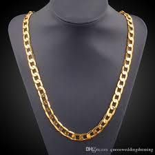 2019 vintage long gold chain for men chain necklace brand new trendreal gold plated thick 18k 9 5mm real gold plated thick bohemian jewelry y 149 from