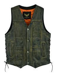 10 pocket vintage distressed brown motorcycle biker leather vest 74 99