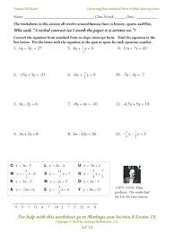 graphing a linear equation worksheets converting lines worksheet kuta