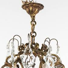 louis xv large mid century french crystal and bronze chandelier with eight lights for