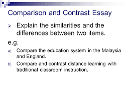 comparison and contrast essay  explain the similarities and the  2  explain