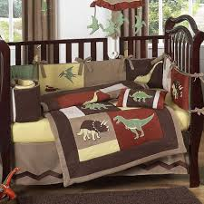 dinosaur land brick red and brown microsuede piece crib set baby bedding boy sheets nursery forest