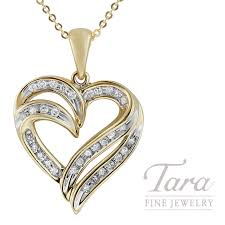 18k yellow gold heart pendant 33 round diamonds 25tdw 3 4g tara fine jewelry