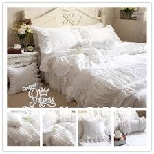 luxury handmade pleated lace white bedding set king queen size 100 cotton satin 4pcs ruffle duvet cover bedskirt be bedcloth