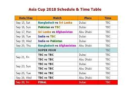 Asia Cup Chart Asia Cup 2018 Schedule Time Table Youtube