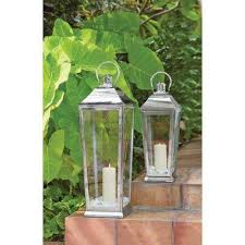 candle tapered lantern in polish silver