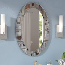 bathroom wall mirrors.  Bathroom Serenity Oval Deep Engravings Accent Wall Mirror Inside Bathroom Mirrors L