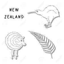 ニュージーランドのシンボル黒い線漫画アイコン キウイ鳥羊シダ銀支店のセット手書きのベクトル図