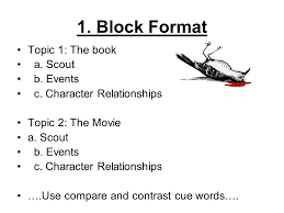 compare and contrast essay for to kill a mockingbird book vs  block format topic 1 the book a scout b events c