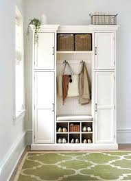 Coat Rack Cabinet Entryway Storage Bench With Coat Rack Cabinet White Foyer tbtech 34