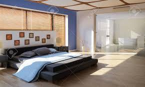 Moderne Luxus Schlafzimmer Mit Bad Durch Eine Große Glasscheibe