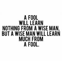 Image result for a fool will learn nothing from a wise man but a wise man will learn much from a fool