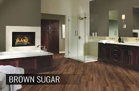 wood look waterproof vinyl bathroom flooring in modern bathroom
