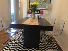 West Elm Kitchen Table Modern Dining Room Acrylic Chairs From Ikea And Wooden Table