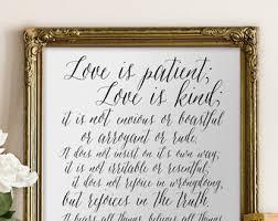love is patient bible verse wall art