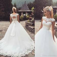 organza wedding gowns. 2017 Glamorous Country Lace Up Back Capped Sleeves Bow Ball Gown