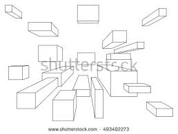stock vector many cubes in linear perspective with one point of vanishing isolated on white 493402273 one point perspective stock images, royalty free images & vectors on 3 point perspective template