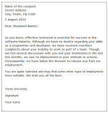 sample letter employee employee dismissal letter sample