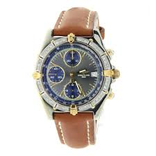 breitling breitling chronomat b13047 mens two tone watch on leather band 38mm image 0