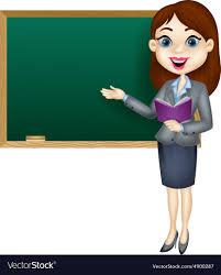 Cartoon Female Teacher Standing Next To A Blackboa