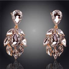 bridal earrings leaf dangle 18k gold plated austrian crystal earrings cz bridesmaid earrings chandelier earrings cubic zirconia earrings