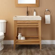 open bathroom vanity cabinet: natural  l teak vanity cabinet trough sink upgrade bathroom