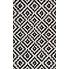 Mercury Row Obadiah Hand-Tufted Wool Black Area Rug & Reviews | Wayfair