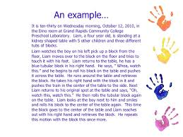 observing children and writing anecdotal records 9 an example