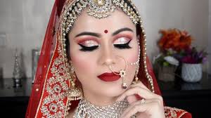traditional indian bridal makeup tutorial in hindi full cut crease look red lips beauty beauty