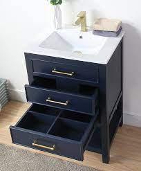 24 Tennant Brand Aruzza Small Slim Narrow Navy Blue Bathroom Vanity Chans Furniture