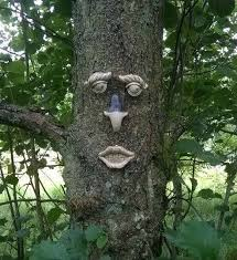 garden tree face novelty ornament decoration fun funny wall fence shed tf102 for