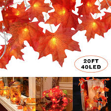 Fall Garlands With Lights Amazon Com Fall Maple Leaf String Lights 40 Led 20 Ft