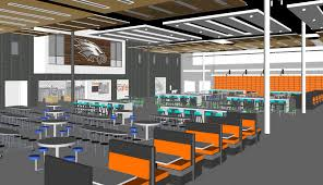 High school cafeteria Westminster The Following Renderings Are Of The New Cafeteriacommons That Will Be Located Where The Current Tennis Courts Are College Community School District High School Construction Project Cafeteriacommons Prairie News