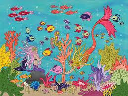 mermaid painting under the sea by medana gabbard