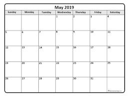 May Blank Calendars May 2019 Calendar Free Printable Monthly Calendars