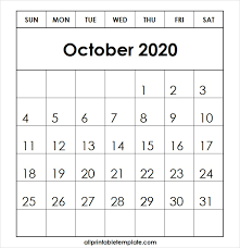 All Template For Printable October 2020 Calendar Free Download