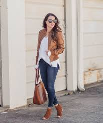 brown leather jacket outfit idea for women via peaches in a pod blog