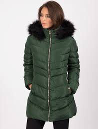 lotus longline quilted puffer coat with faux fur trim hood in dark green tokyo laundry