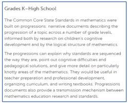Common Core Math Progressions Chart The Progressions Documents A Resource For Teachers