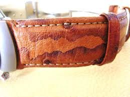 ostrich leather watch band with marks of welding