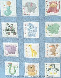 Quilt Squares - Embroidery Patterns & Kits - 123Stitch.com & Childrens Zoo Nursery Quilt Squares - Embroidery Kit by Jack Dempsey Needle  Art Each package contains one set of twelve - 9