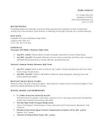 Resume Examples High School Resume Template Directory