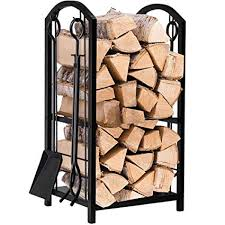 fireplace log rack. Interesting Log Fireplace Log Rack With 4 Tools Indoor Outdoor Fireside Firewood Holders  Lumber Storage Stacking Black Wrought Intended O