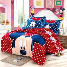 latest gift mickey mouse bedding set children cartoon sanding cotton bedclothes bed sheet king queen size