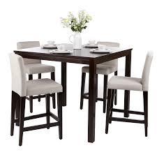 Ensemble table de bar + 4 chaises hautes en bois de manguier massif ...